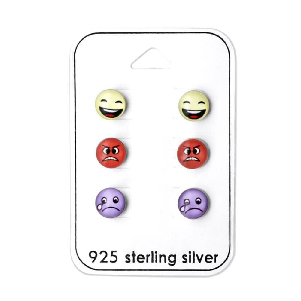 Children's Sterling Silver Emoji Stud Earrings Set