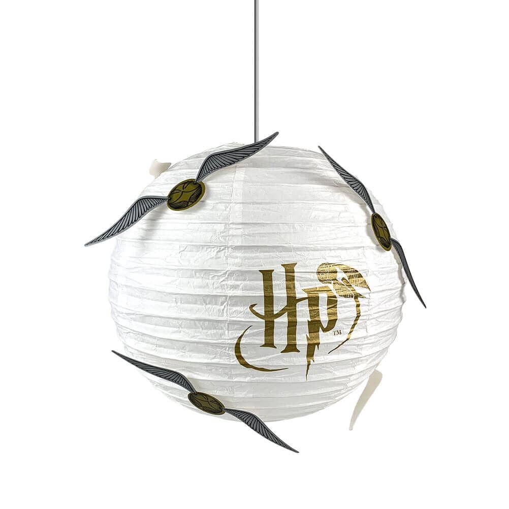 Harry Potter Golden Snitch White and Gold Design Round Paper Light Shade