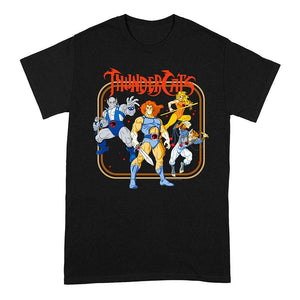 Men's Thundercats Framed Group Shot Black Crew Neck T-Shirt.