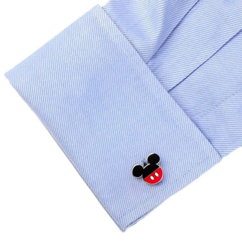 Blue Shirt Cuff with a Single Disney Mickey Mouse Cufflink