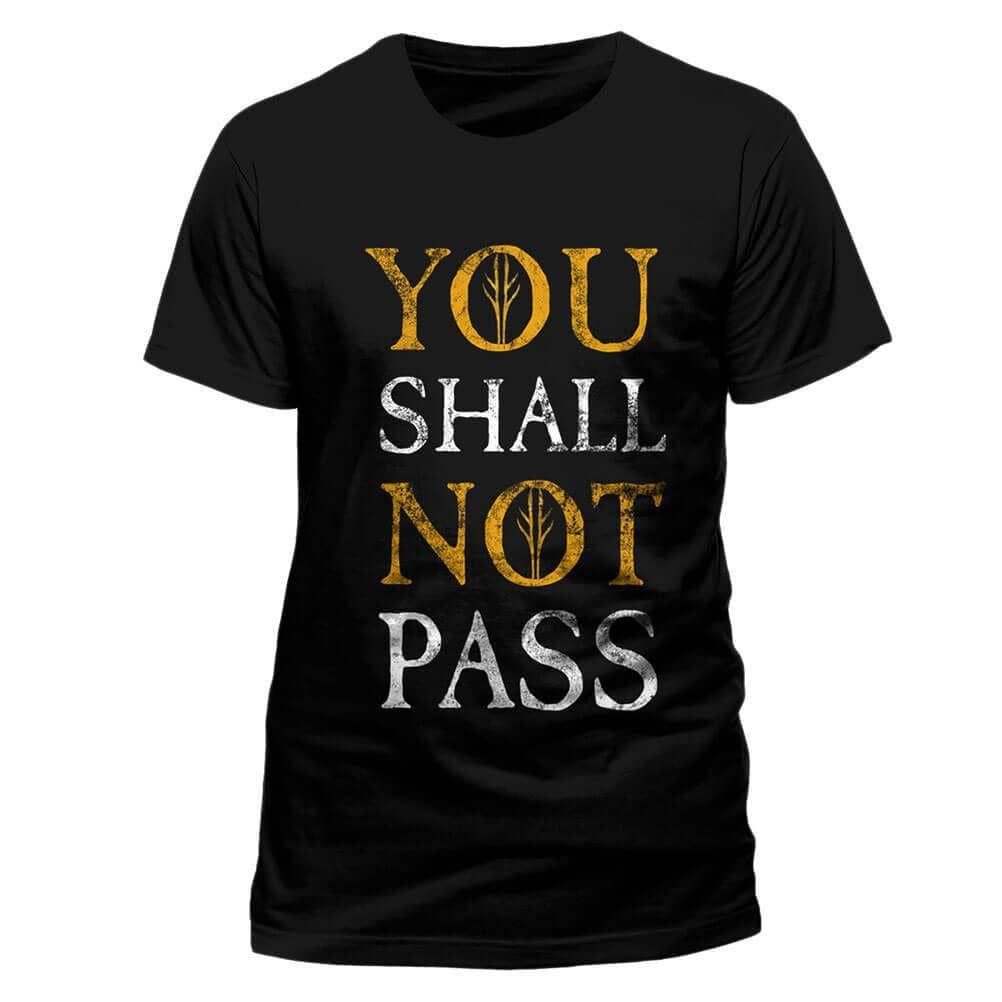 Men's The Lord of the Rings You Shall Not Pass Design Black Crew Neck T-Shirt