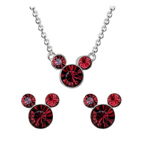 Disney Mickey Mouse Red Stone Necklace and Earrings Set
