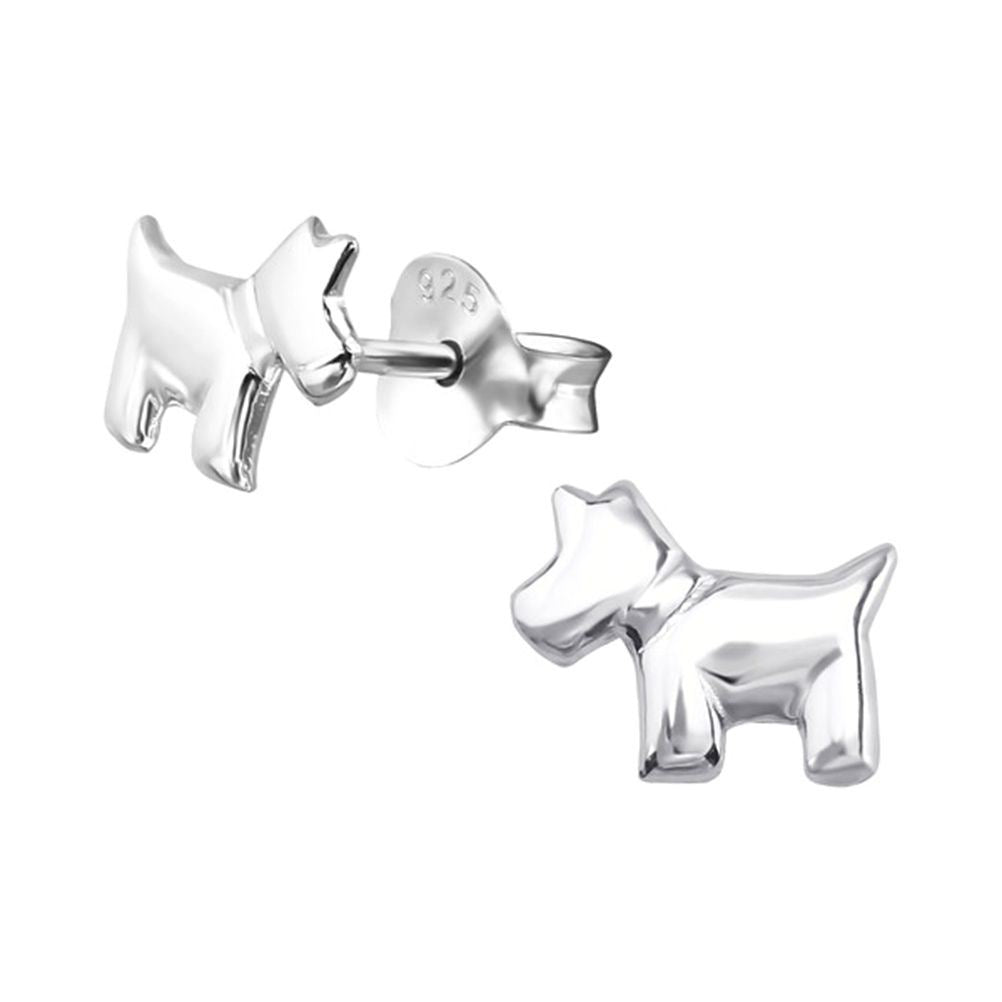 Children's Sterling Silver Scottie Dog Stud Earrings