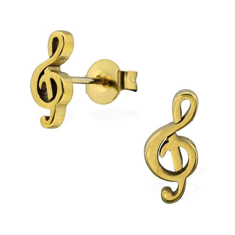 Gold Surgical Steel Treble Clef Stud Earring