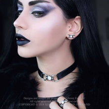 Load image into Gallery viewer, Alchemy Gothic Triple Goddess Moon Pewter Stud Earrings