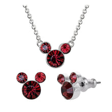 Load image into Gallery viewer, Disney Mickey Mouse Red Stone Necklace and Earrings Set