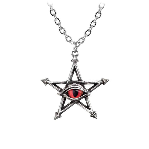 Alchemy Gothic Red Curse Pentagram Pewter Pendant