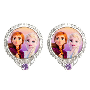 Frozen Elsa and Anna Silver Plated Stud Earrings