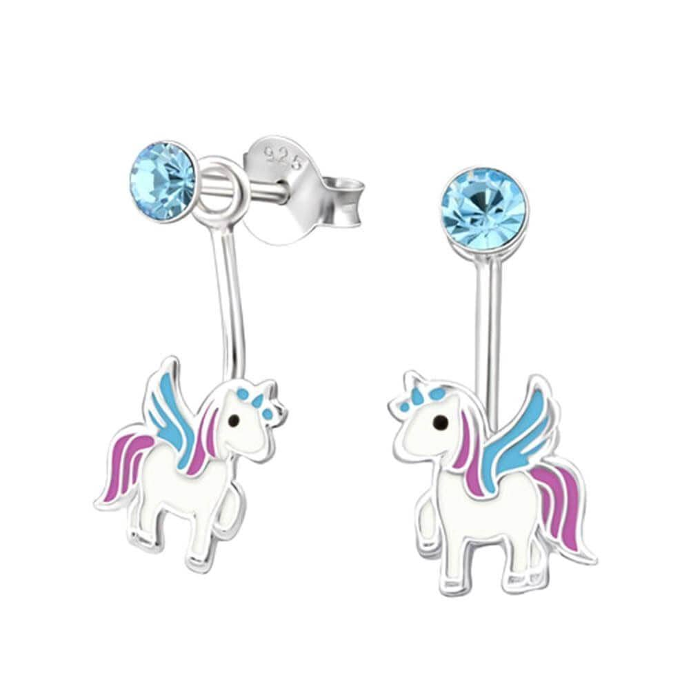 Children's Sterling Silver Unicorn Dangle Earrings