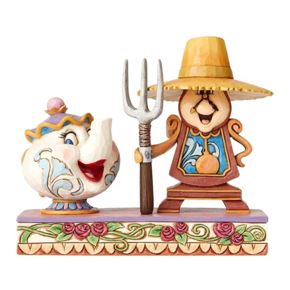 Front View of Disney Traditions Mrs Potts and Cogsworth Figurine