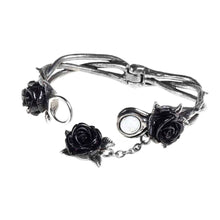 Load image into Gallery viewer, Alchemy Gothic Wild Black Rose Pewter Bracelet.
