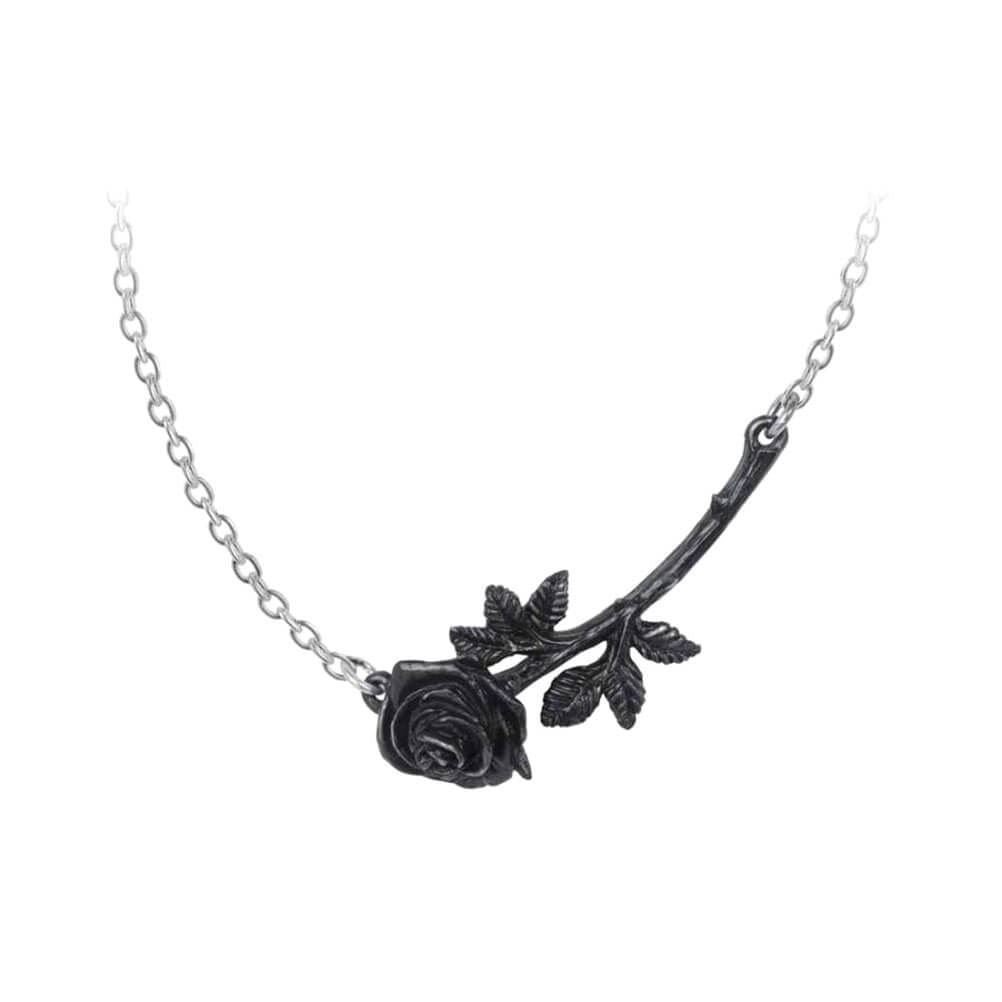 Alchemy Gothic Black Rose Enigma Pewter Pendant