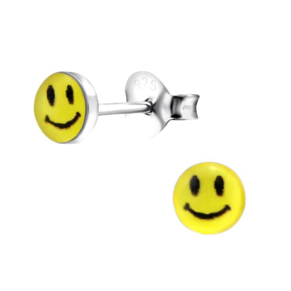Children's Sterling Silver Petite Smiley Face Stud Earrings