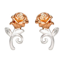 Load image into Gallery viewer, Disney Beauty and the Beast Rose Sterling Silver Stud Earrings