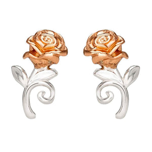 Disney Beauty and the Beast Rose Sterling Silver Stud Earrings