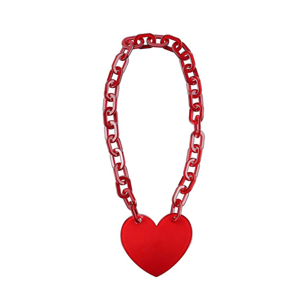 Red Heart Link Chain Large Statement Necklace