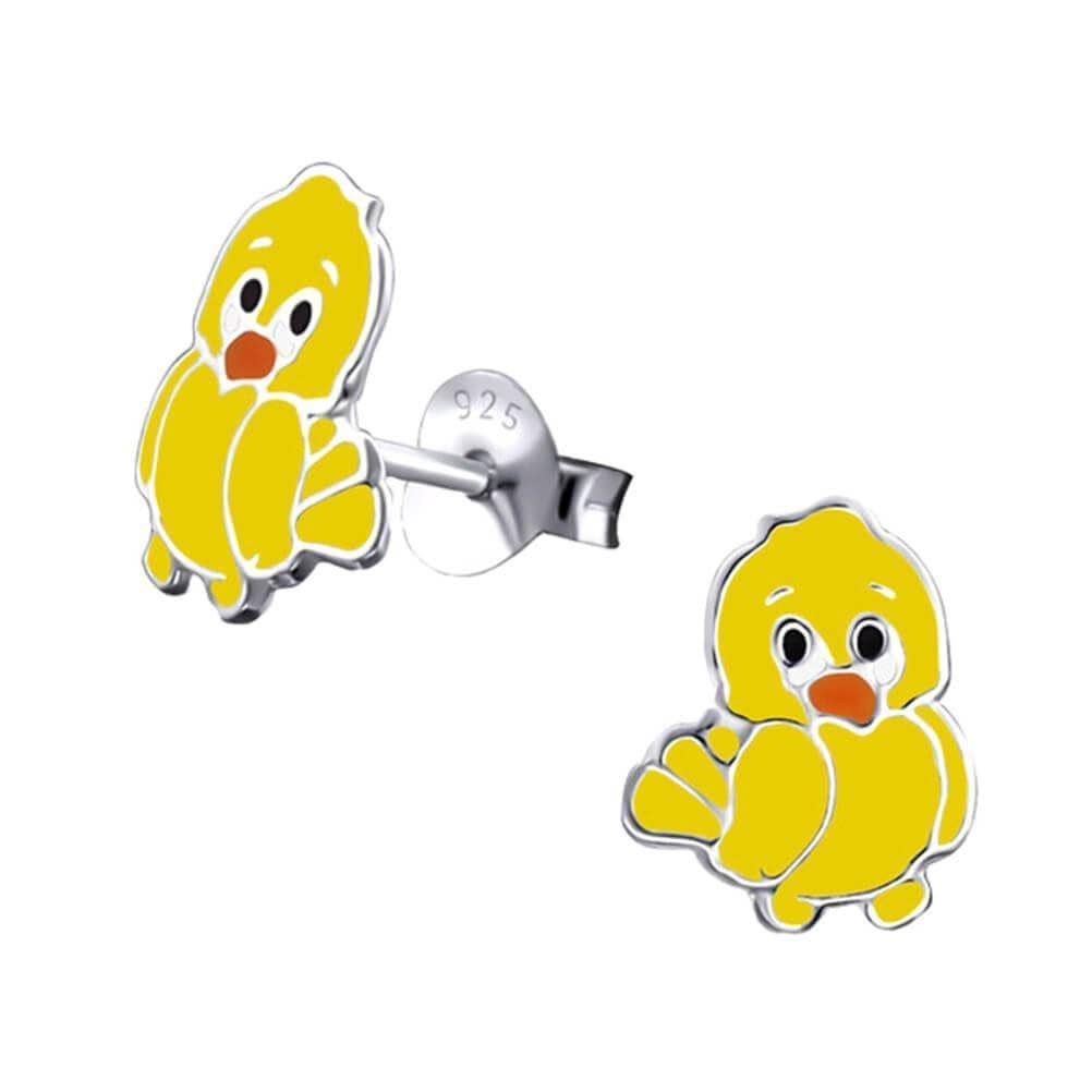 Children's Sterling Silver Chick Stud Earrings