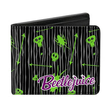 Load image into Gallery viewer, Beetlejuice Doodles Collage Black Bi-Fold Wallet
