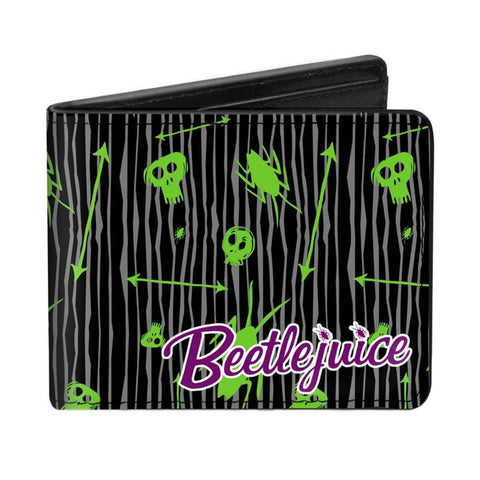 Beetlejuice Doodles Collage Black Bi-Fold Wallet