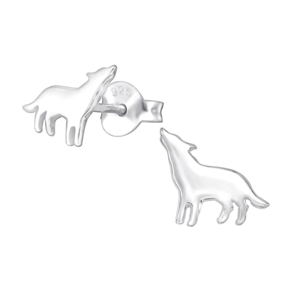 Children's Sterling Silver Wolf Stud Earrings