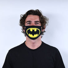 Load image into Gallery viewer, Batman Logo Triple Layer Cotton Fabric Face Mask 2PK