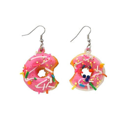 Large Iced Ring Doughnut Drop Earrings