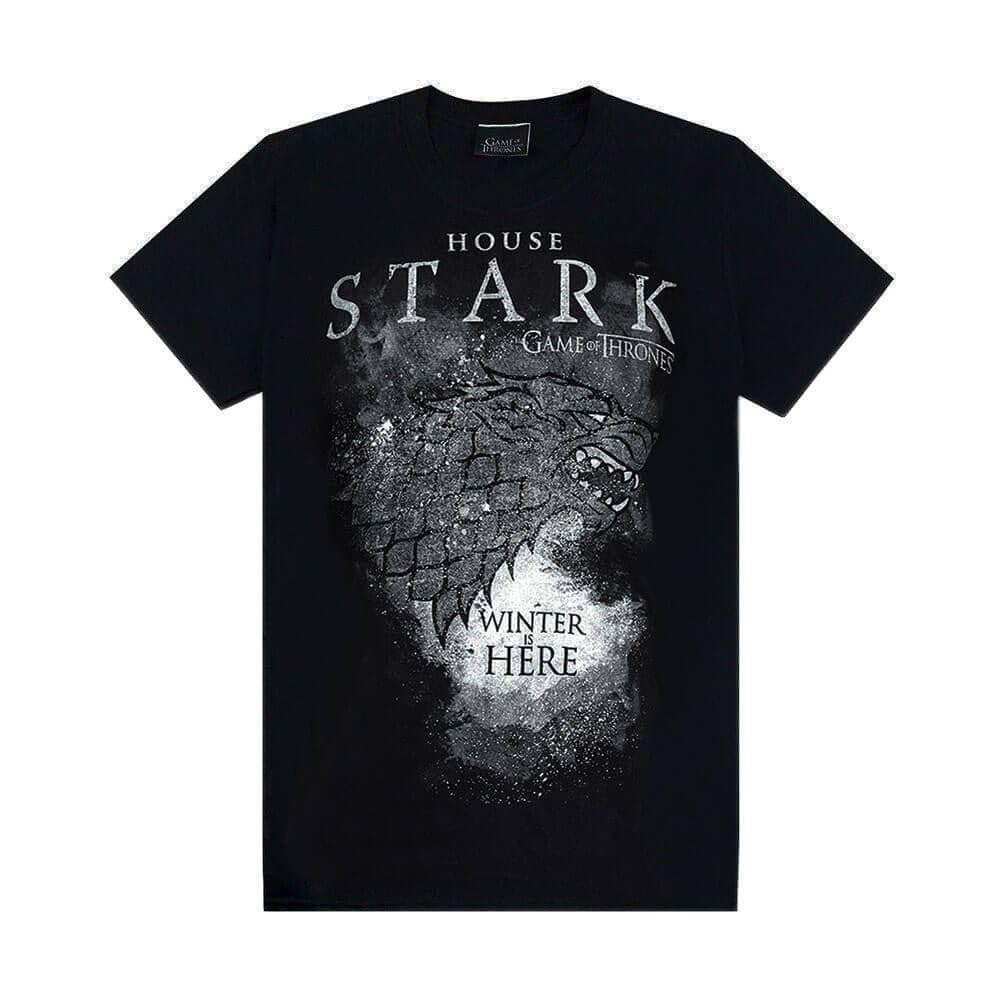 Men's Black Crew Neck Game of Thrones T-Shirt with 'House Stark - Winter is Here' Design