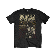 Load image into Gallery viewer, Men's Bob Marley Hammersmith 1976 Poster Black Eco T-Shirt.