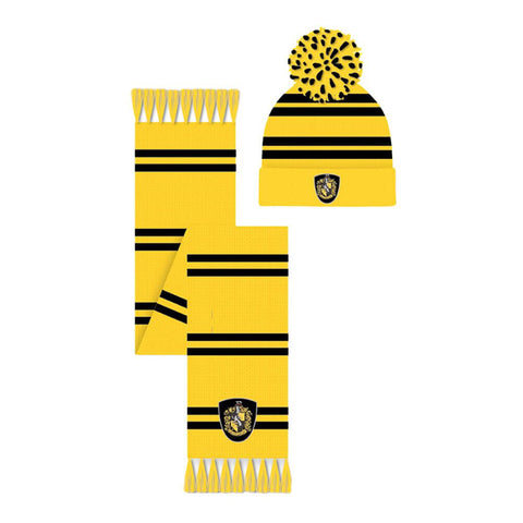 Harry Potter Hufflepuff Crest Bobble Hat and Scarf