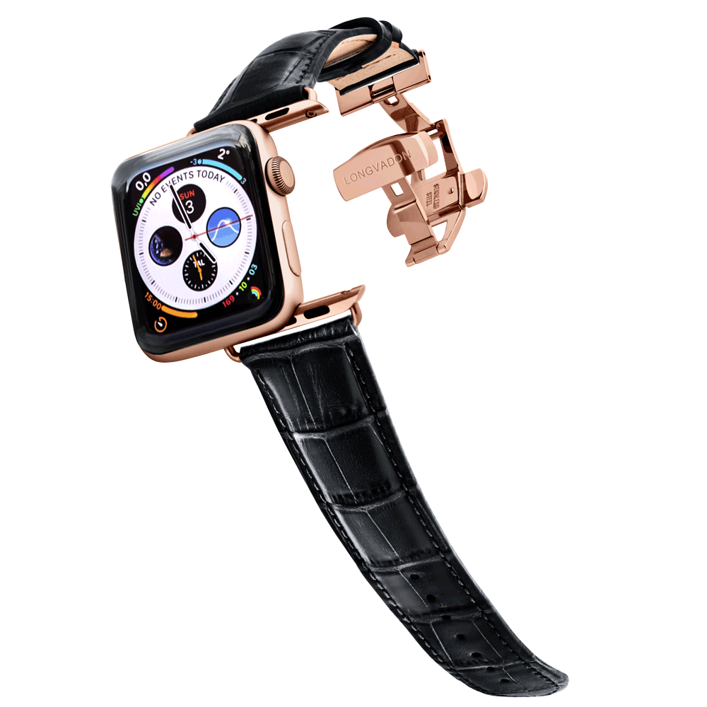 gold apple watch with midnigh black leather band for men