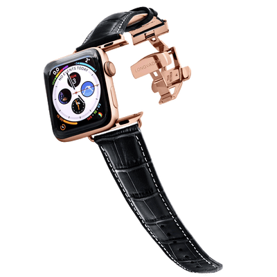 gold apple watch with black leather band white stitching for men