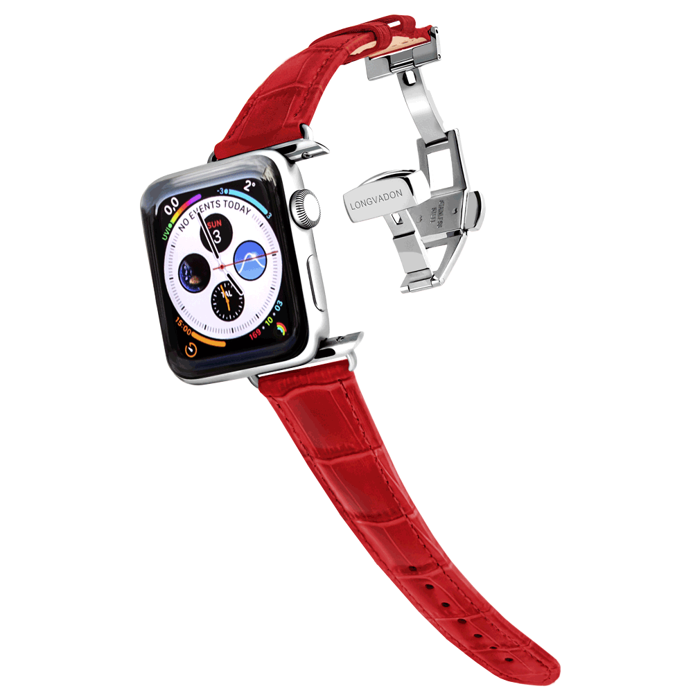 silver apple watch with crimson red leather band for women