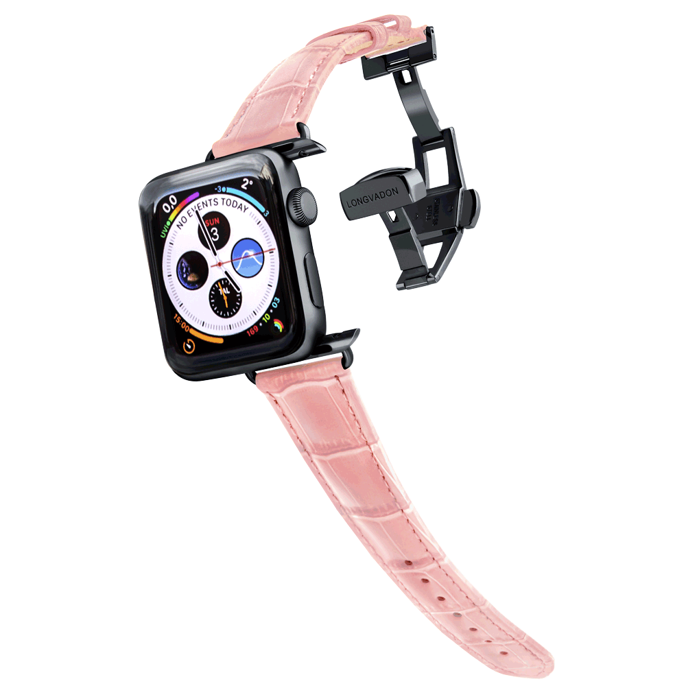 black apple watch with glossy pink leather band for women