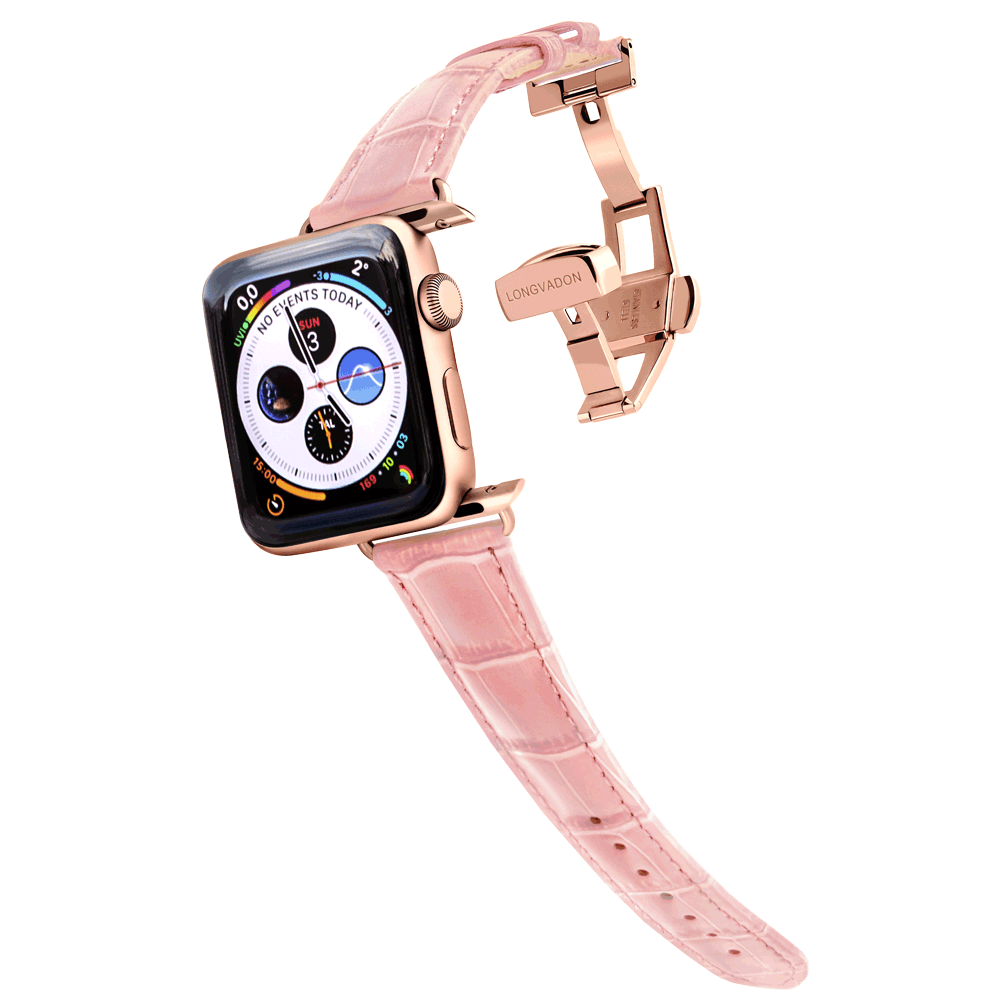 gold apple watch with glossy pink leather band for women