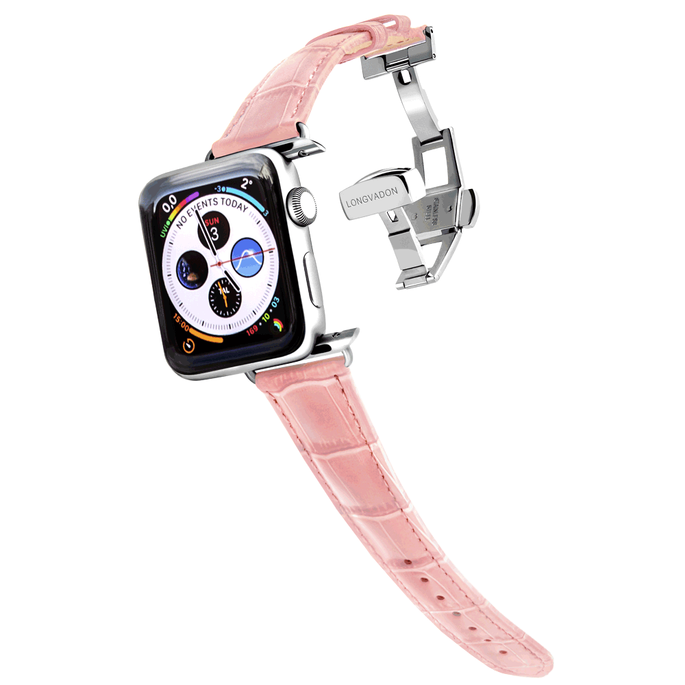 silver apple watch with glossy pink leather band for women
