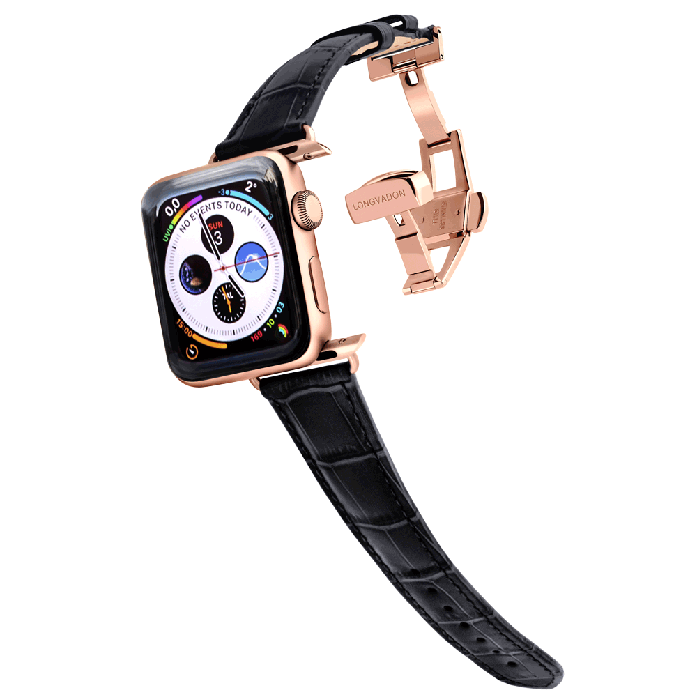 gold apple watch with midnight black leather band for women