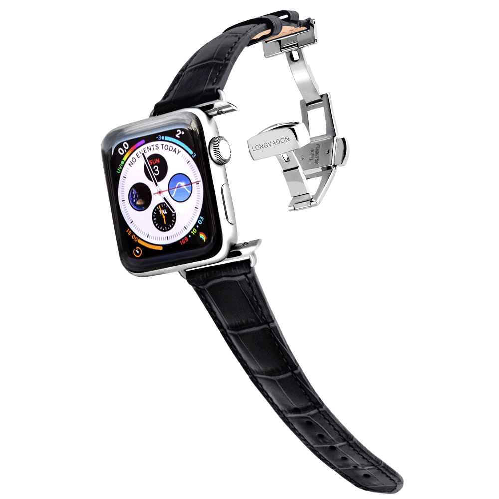 silver apple wactch with midnight black leather band for women