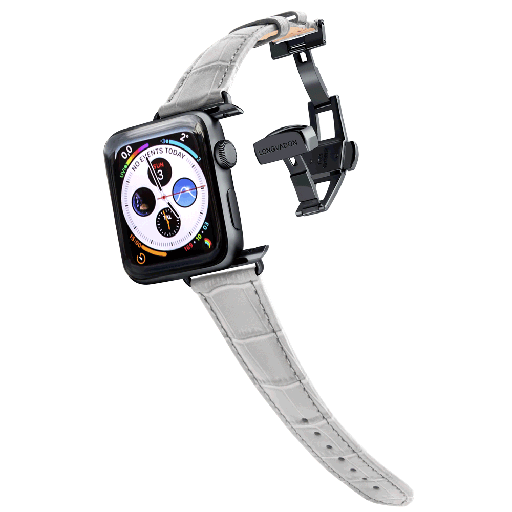 black apple watch with misty gray leather band for women