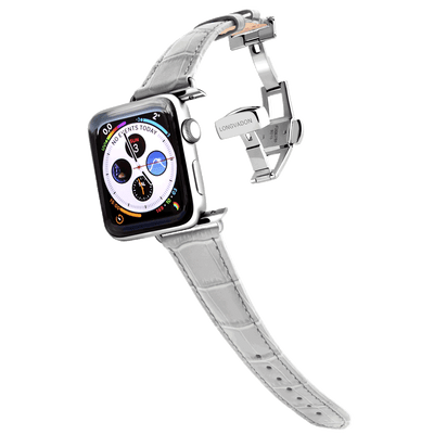 silver apple watch with misty gray leather band for women