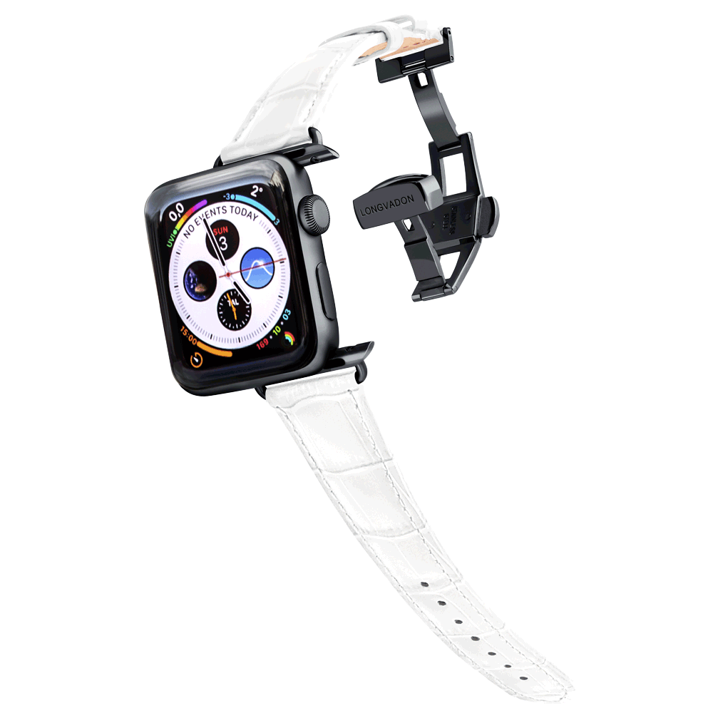 black apple watch with snow white leather band for women