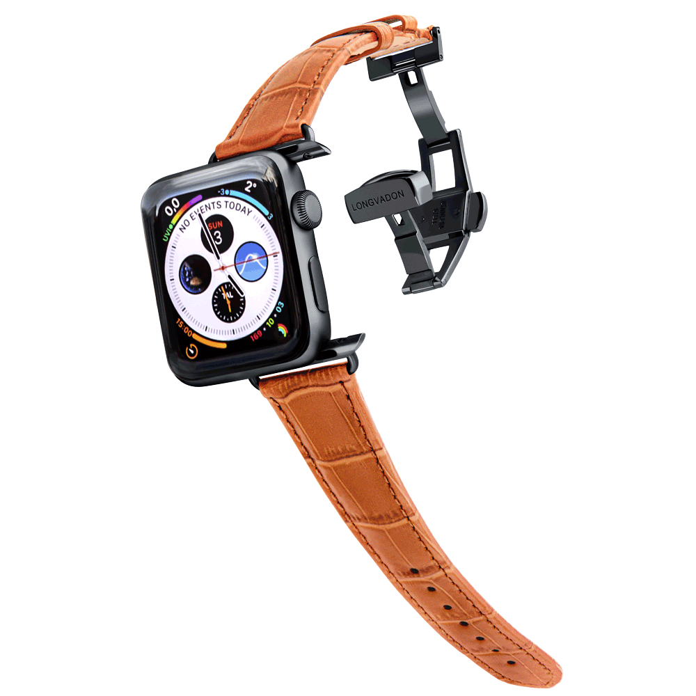 black apple watch with whiskey brown leather band for women
