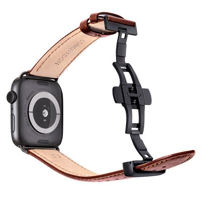 black apple watch with mahogany brown leather band for men back view