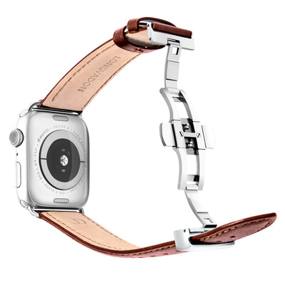 silver apple watch with mahogany brown leather band for men back view