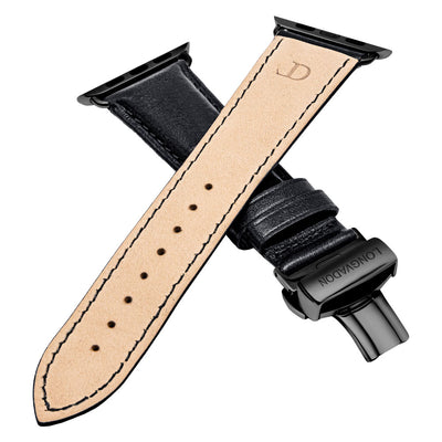 men's midnight black leather band for black apple watch closer look