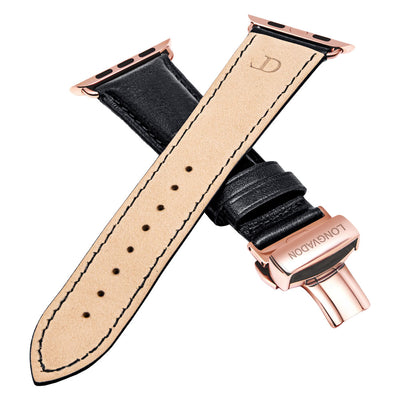 men's black leather band for gold apple watch closer look