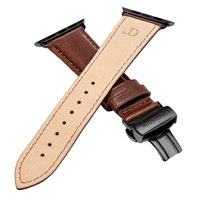 men's mahogany brown leather band for black apple watch closer look