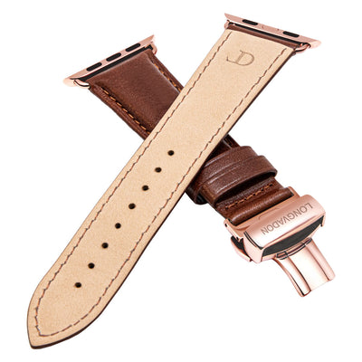 men's mahogany brown leather band for gold apple watch closer look