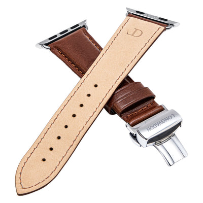 men's mahogany brown leather band for silver apple watch closer look