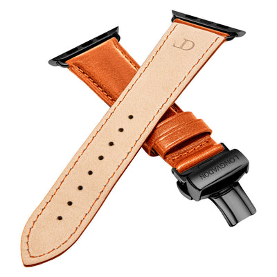 men's whiskey brown leather band for black apple watch closer look