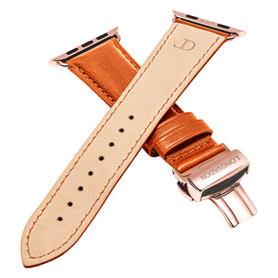 men's whiskey brown leather band for gold apple watch closer look